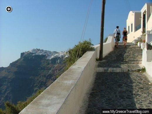 Santorini clifftop path
