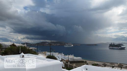 stormclouds above Mykonos