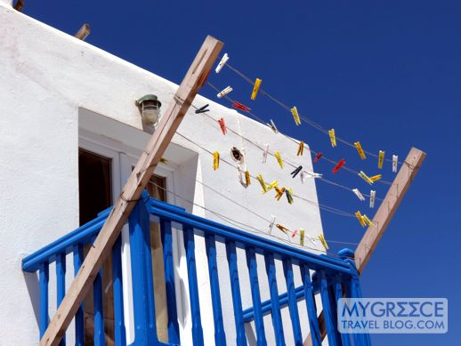 clothesline on a Mykonos balcony