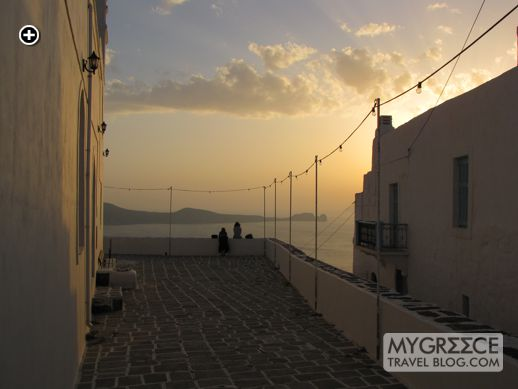sunset viewing from Korfiotissa church in Plaka village Milos