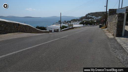 Looking down the main road through the Agios Ioannis resort area of Mykonos