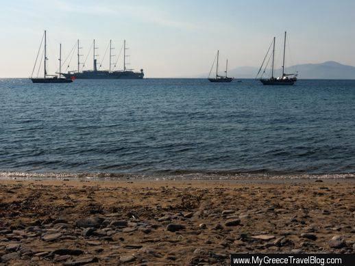 sailboats near Little Venice Mykonos