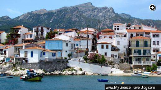 Buildings along the harbourfront at Kokkari village on Samos