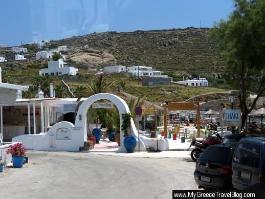 Ornos beach bus stop