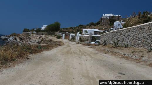 road to Kapari beach Mykonos