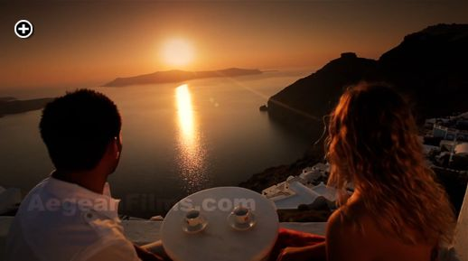 One of Santorini's fabled sunsets is captured in spectacular glory on the Santorini Freedom film
