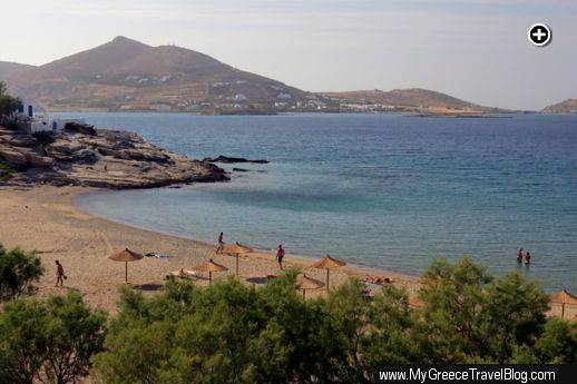 A late afternoon view of Piperi beach and Naoussa Bay on Paros