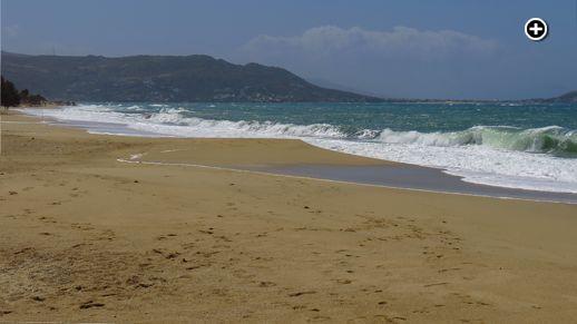 Big waves break on Plaka beach as strong winds blast Naxos island