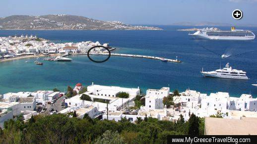A view of the Mykonos Old Port. The Delos island ferries depart from and return to the quay in the center of the photo.