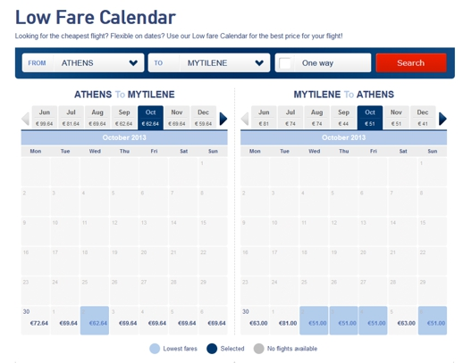 Aegean Airlines low fare calendar