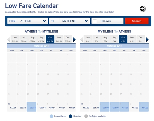 Screenshot of Aegean Airlines fares for flights between Athens and Lesvos island