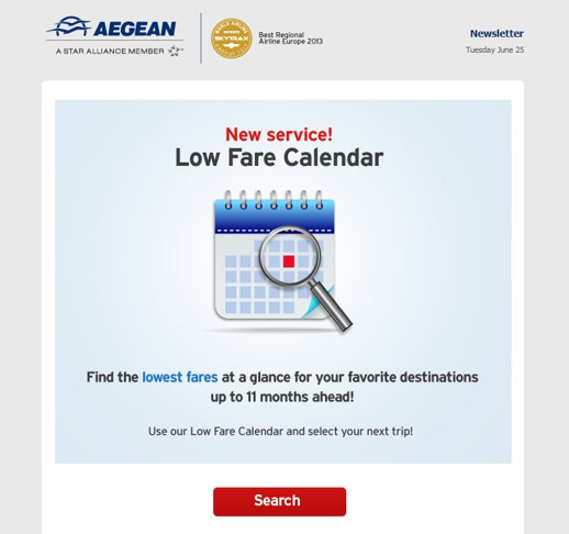 Aegean Airways low fare calendar