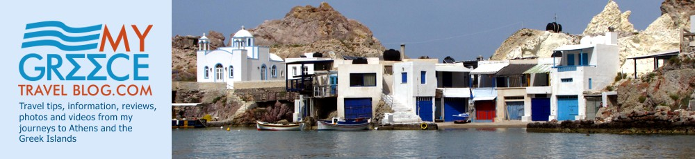 Boathouses at Firopotamos Beach on Milos
