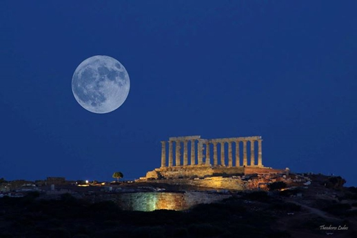 full moon above Cape Sounion