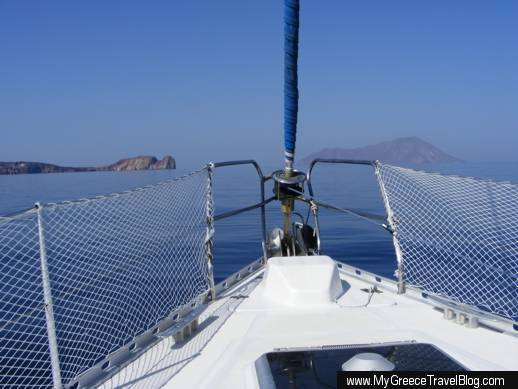 sailing toward Cape Vani on Milos