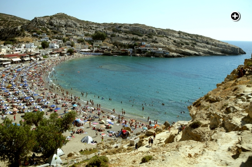 Matala Beach Festival website photo of Matala Beach on the southern coast of Crete