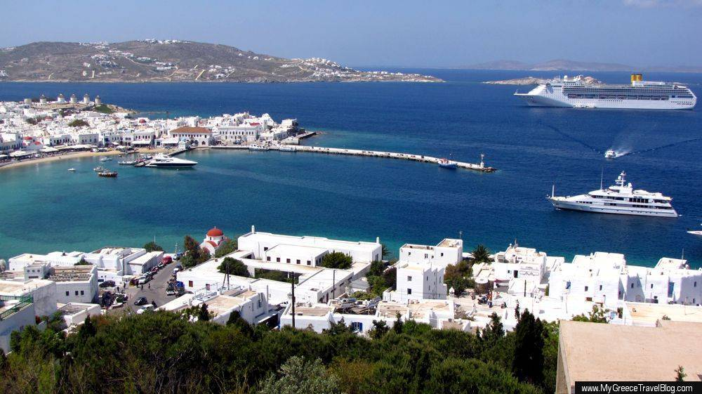 Mykonos Old Port and Delos ferry boat quay