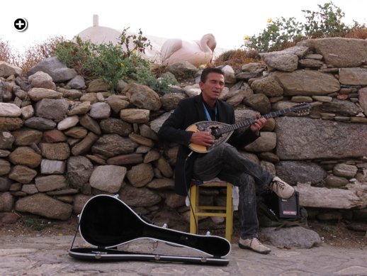 A bouzouki player entertains tourists in the Kastro area of Mykonos Town while one of the Mykonos pelicans preens behind him