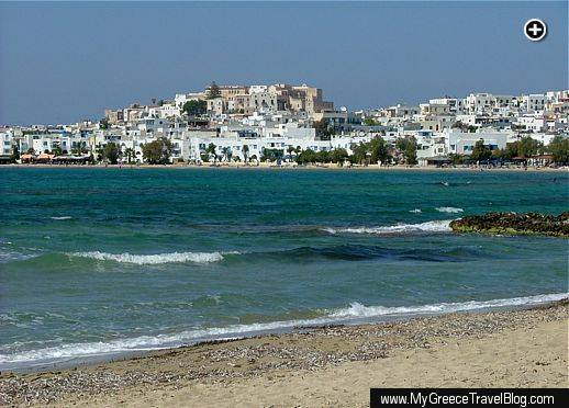 Approaching Naxos Town from the south end of St George's beach on Naxos