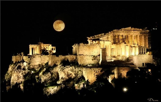 full moon above Acropolis