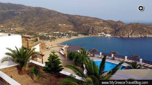 The terrace for Katerina Hotel's Room 7 boasts this marvellous view of Mylopotas beach on Ios