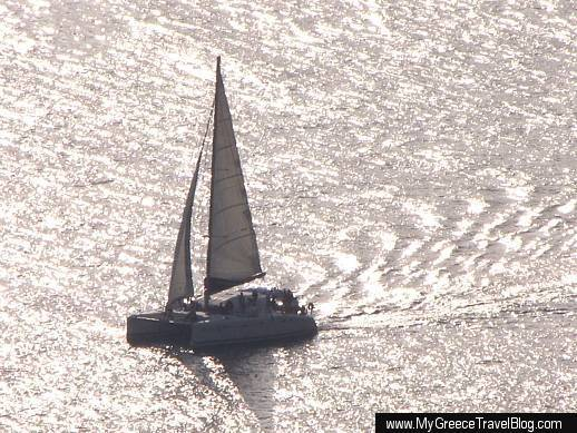 catamaran in the Gulf of Milos