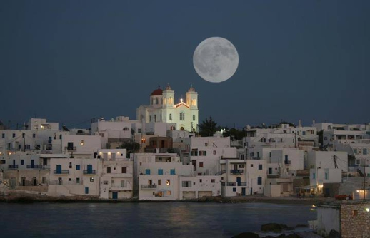 full moon over Naoussa on Paros
