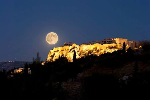 Full moon over the Parthenon