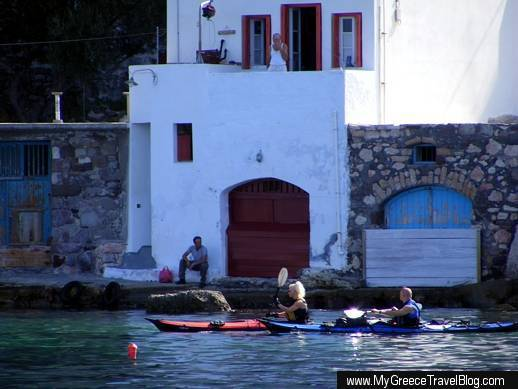 sea kayaks at Klima village on Milos