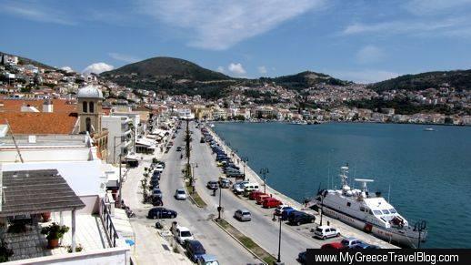 main street in Vathy on Samos