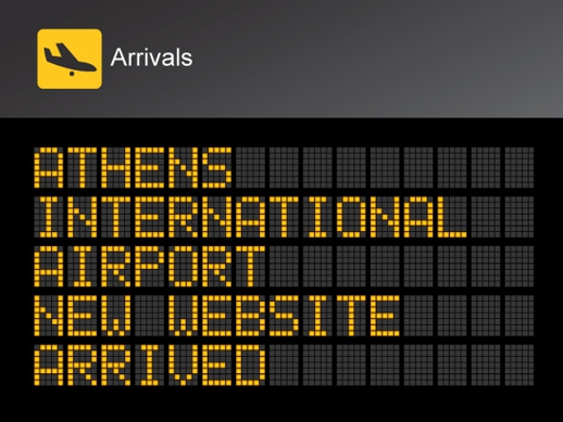 Athens International Airport new website announcement