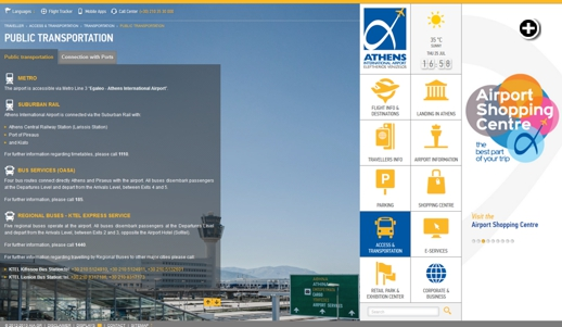 Public Transportation services page of the new Athens International Airport website