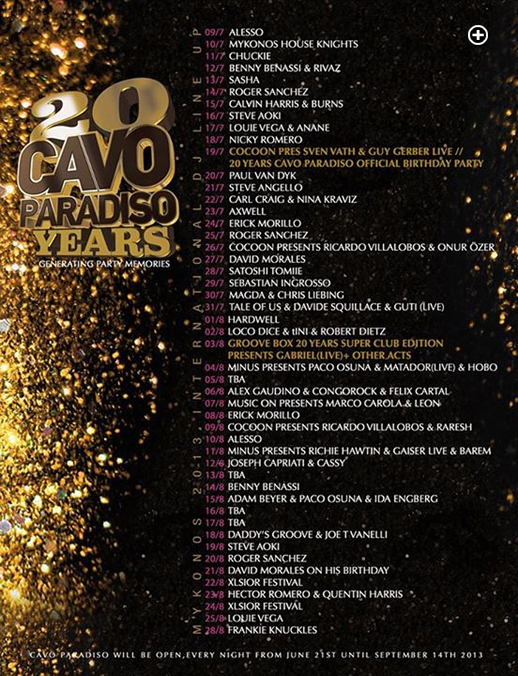 The 20th anniversary special event lineup for Cavo Paradiso Club on Mykonos