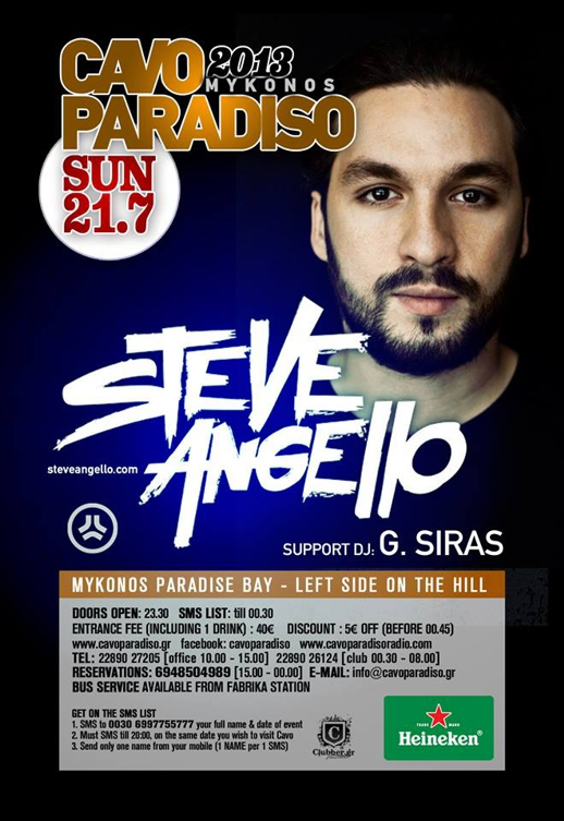 Steven Angello promotional poster for Cavo Paradiso party July 21