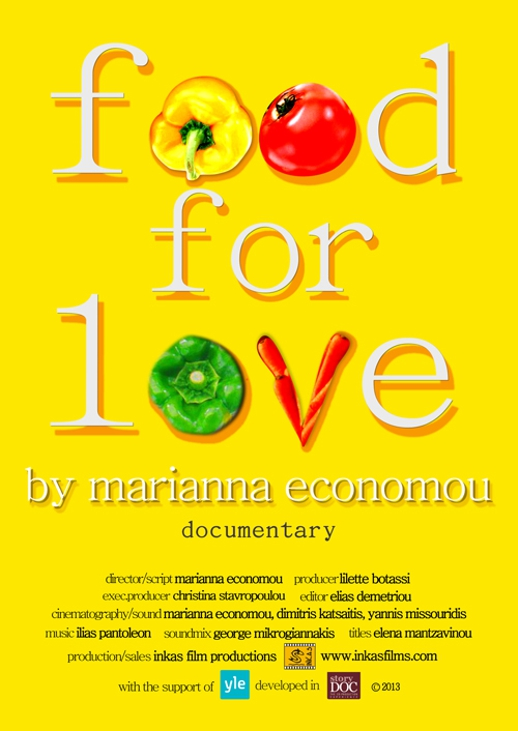 Promotional poster for Food For Love documentary film by Marianna Economou