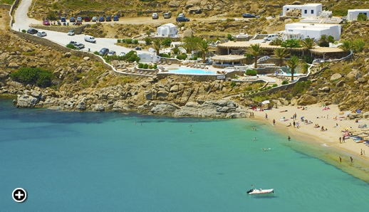 Aerial view of the new Jackie O' Beach Club at Super Paradise beach on Mykonos