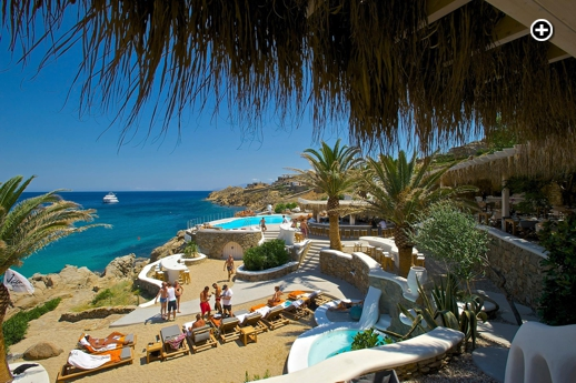Jackie O' Beach Club at Super Paradise beach on Mykonos