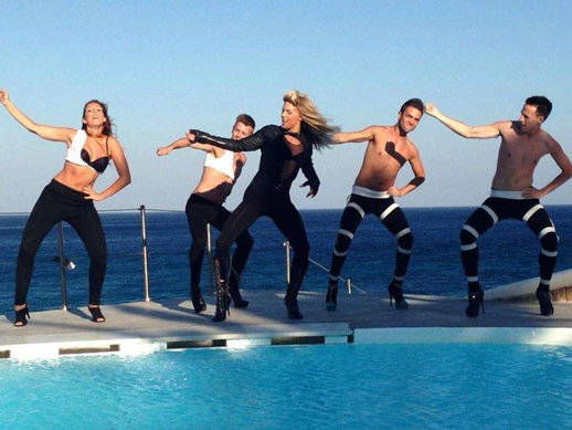 Entertainer Gyzel performing at Jackie O' Beach at Super Paradise Mykonos