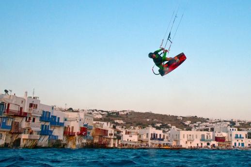 Kite surfing near Little Venice on Mykonos