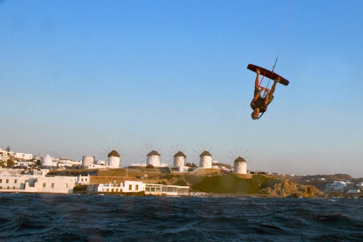 Kite surfer getting air near the Mykonos windmills