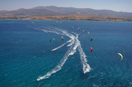 Kitesurfing at Paros island Greece