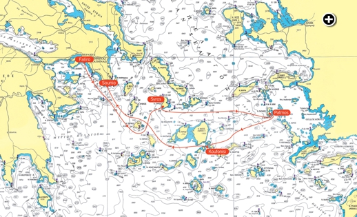 This map shows the course competitors will follow through the Cyclades during the next 10 days