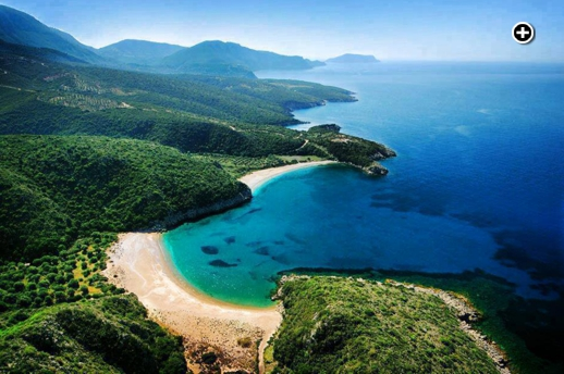 Golden sand beaches on the Halkidiki peninsula in the Central Macedonia region of Greece