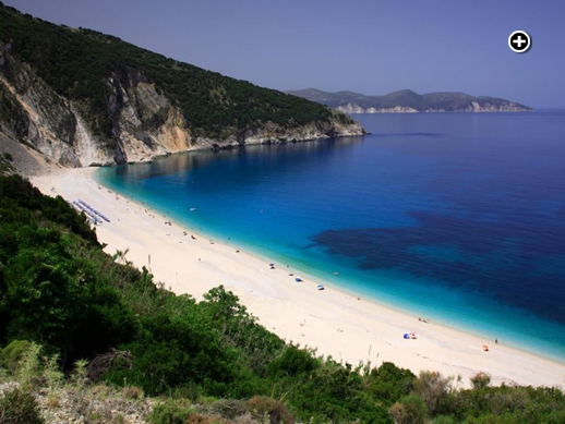 Myrtos beach on Kefalonia island in the Ioanian Sea off the western coast of mainland Greece