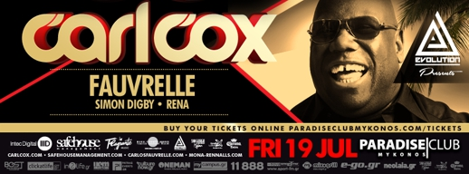 Paradise Club Mykonos poster for Carl Cox event