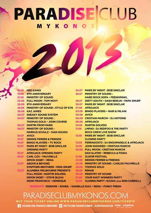 Paradise Club Mykonos event calendar 2013