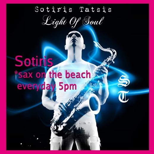Saxophonist Sotiris Tatsis performing at Pinky Beach Mykonos