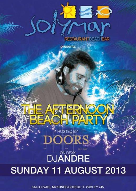 Solymar restaurant and beach bar Kalo Livadi beach Mykonos party poster