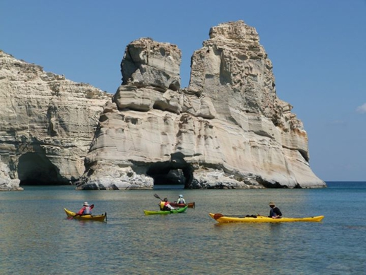 Sea kayaks at Kleftiko on Milos island