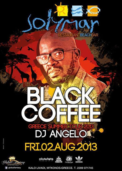 Promotional poster for Solymar restaurant's Black Coffee party August 2 2013